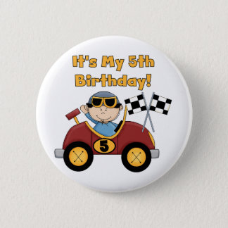 Red Race Car 5th Birthday Tshirts and Gifts 2 Inch Round Button