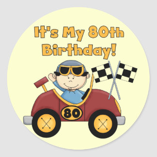 Red Race Car 80th Birthday stickers