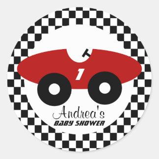 Red Race Car Baby Shower Round Sticker