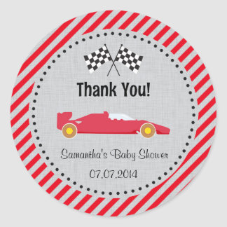 Red Race Car Baby Shower Thank You Stickers