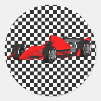 Red Race Car Birthday Sticker