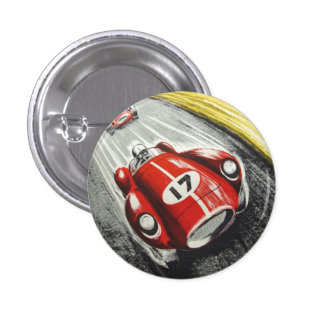 Red Race Car 1 Inch Round Button
