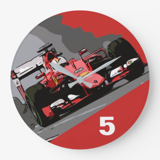 RED RACE CAR - NEVER LIFT LARGE CLOCK