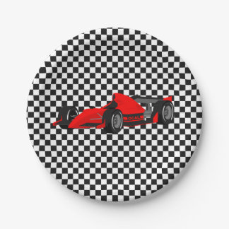 Red Race Car Paper Plate