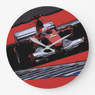 RED RACE CAR - PASSION LARGE CLOCK