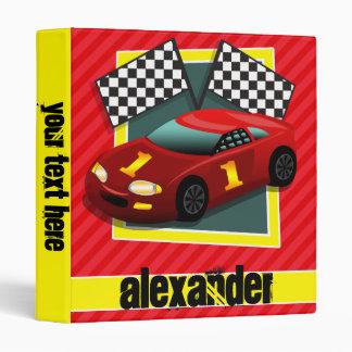 Red Race Car; Scarlet Red Stripes Vinyl Binder
