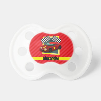 Red Race Car; Scarlet Red Stripes Pacifier