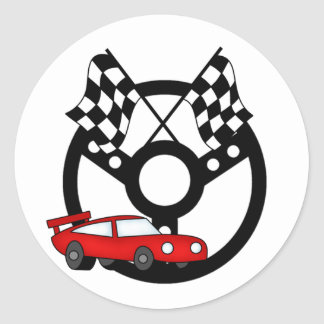 Red Race Car Tshirts and Gifts Round Sticker