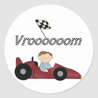 Red Race Car Vroom T-shirts and Gifts Round Sticker