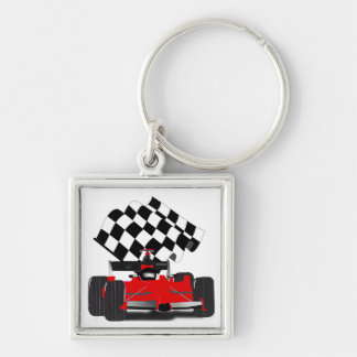 Red Race Car with Checkered Flag Keychains