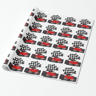 Red Race Car with Chequered Flag