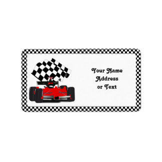 Red Race Car with Chequered Flag Label