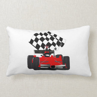 Red Race Car with Chequered Flag Lumbar Pillow