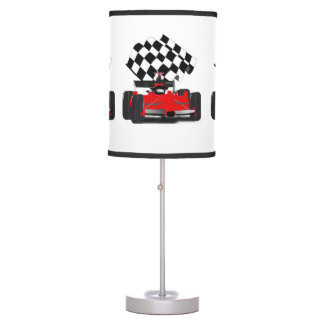 Red Race Car with Chequered Flag Table Lamp