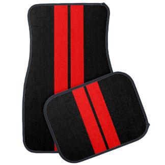 Red Race Stripes   DIY Background Color Car Mat