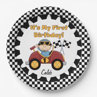 Red Racing Car 1st Birthday Paper Plates