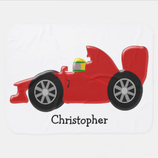 Red Racing Car Personalized Baby Blanket