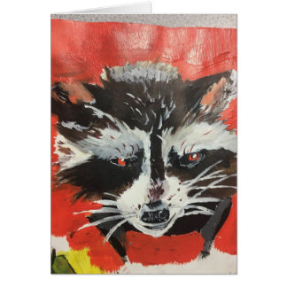 Red Racoon Artistic Painting Card