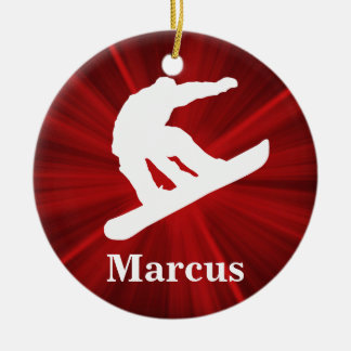 Red Radiance Personalized Snowboarding Ornament