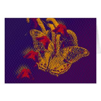 Red radioactive butterflies horizontal card