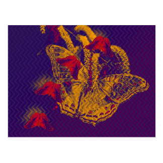Red radioactive butterflies horizontal postcard