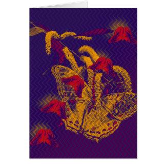 Red radioactive butterflies vertical card