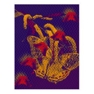 Red radioactive butterflies vertical postcard