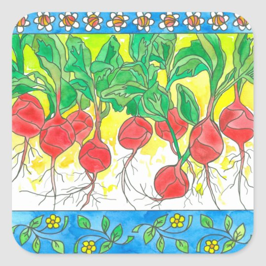 Red Radishes Garden Vegetables Daisy Flowers Square Sticker
