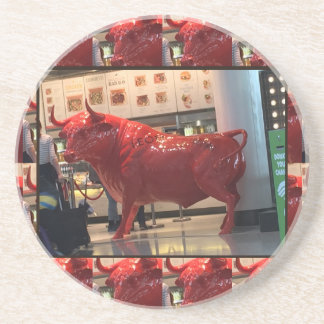 Red Raging Bull Heathrow Airport London England UK Drink Coaster
