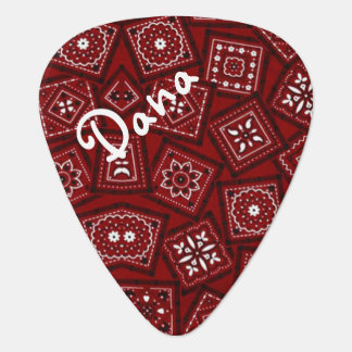 Red Railroad Scarf Guitar Pick