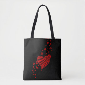 Red Rainbow Heart with Stars on black Tote Bag