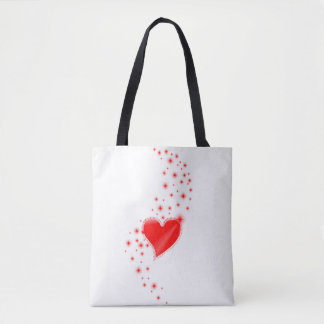 Red Rainbow Heart with Stars Tote Bag