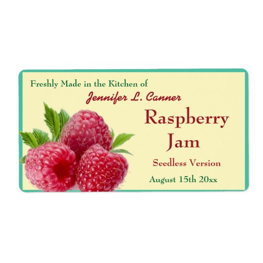 Red Raspberry Jam or Preserves 2 Canning Jar Shipping Label