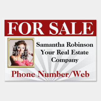 Red Real Estate Agent Broker Custom Photo Sign