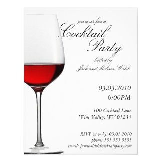 Red Red Wine Cocktail Wine Party Invitations