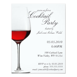 "Red Red Wine Cocktail & Wine Party Invitations 4.25"" X 5.5"" Invitation Card"