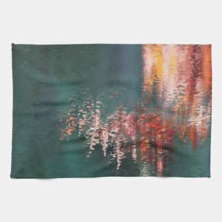 Red reflections in water abstract teatowel kitchen towel