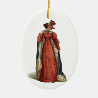 Red Regency Lady Ceramic Oval Ornament
