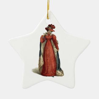 Red Regency Lady Ceramic Star Ornament