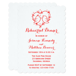 Red Rehearsal Dinner Lovebirds & Heart Wedding Card