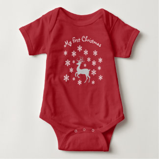 Red Reindeer First Christmas Infant Outfit Baby Bodysuit