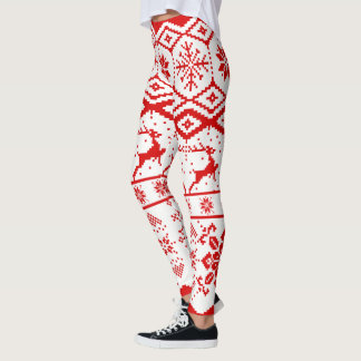 Red Reindeer Knitted Pattern Leggings