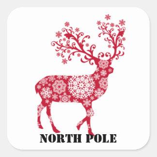 Red Reindeer North Pole Envelope Sticker