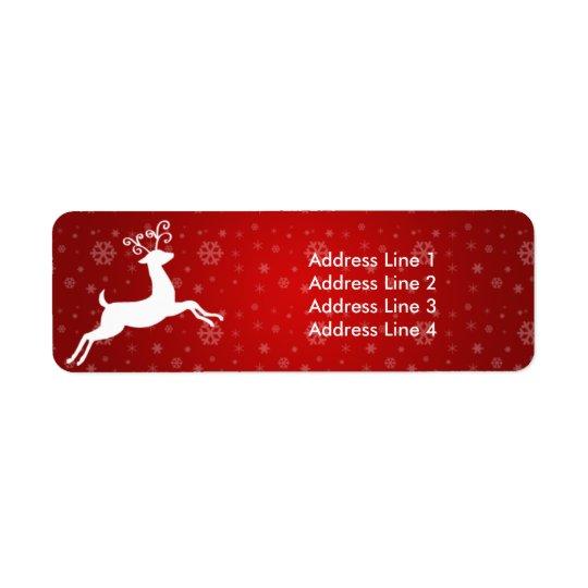 Red Reindeer Return of Address Label
