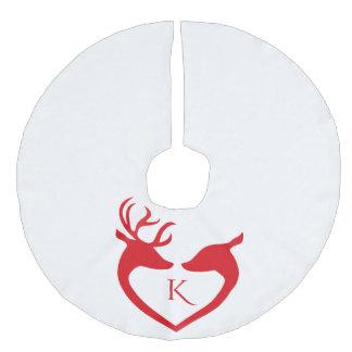 Red Reindeer Silhouette Monogrammed Christmas Faux Linen Tree Skirt
