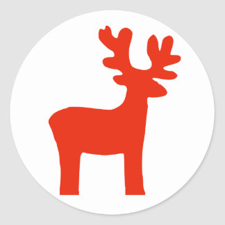 Red Reindeer Silhouette White Christmas Classic Round Sticker