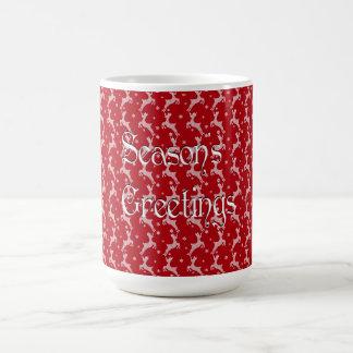 Red Reindeer Snowflake Pattern Coffee Mug