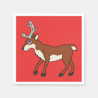 Red Reindeer with Antlers Paper Napkin