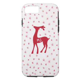 Red reindeer with monogram sparkling stars white iPhone 8/7 case