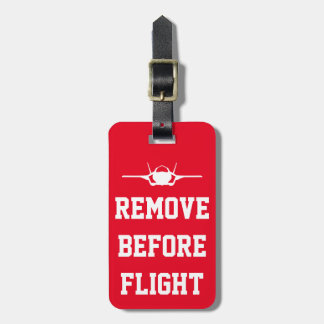 Red Remove Before Flight Custom F-35 Luggage Tag